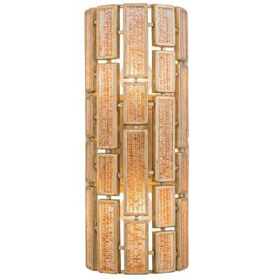 Harlowe 2-Light Havana Gold Wall Sconce with Brown Textured Ice Glass
