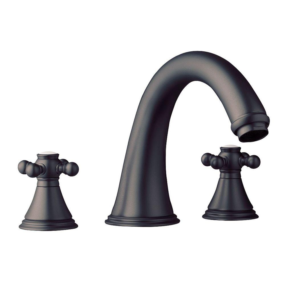 grohe geneva 3 hole 2 handle deck mount roman tub faucet in oil rubbed bronze 25054zb0 the. Black Bedroom Furniture Sets. Home Design Ideas