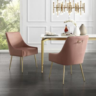 Capelli Blush/Gold Velvet Metal Leg Armless Dining Chair (Set of 2)