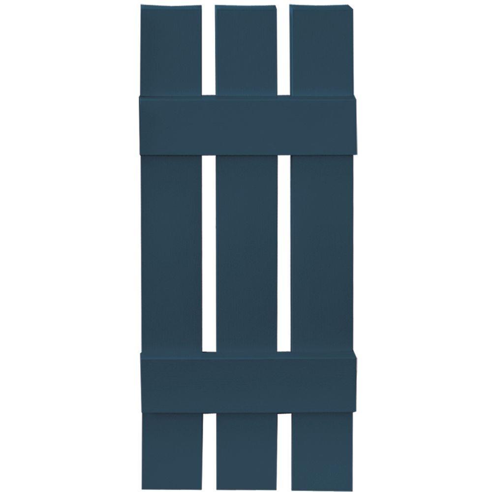 12 in. x 31 in. Board-N-Batten Shutters Pair, 3 Boards Spaced #036 Classic Blue