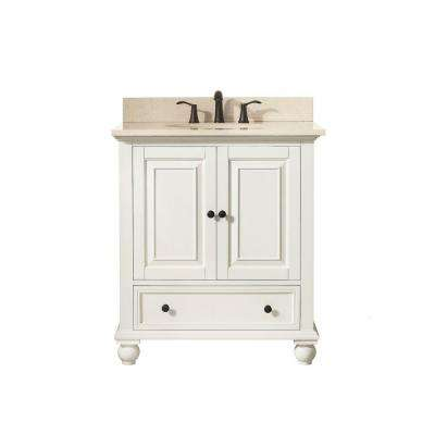 Thompson 31 in. W x 22 in. D x 35 in. H Vanity in French White with Marble Vanity Top in Galala Beige with Basin