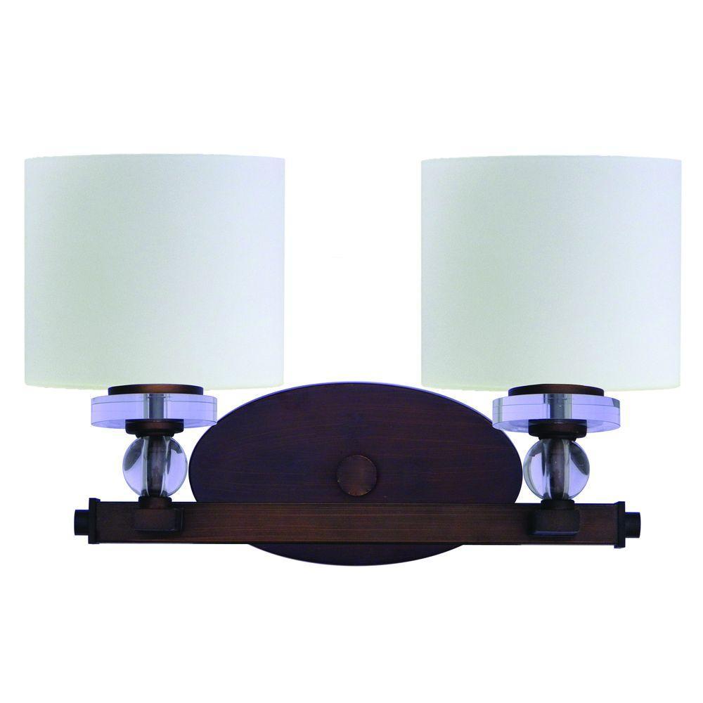 Mitchell Peak 2-Light Oil Rubbed Bronze Bathroom Vanity Light with Dove White Glass Shade