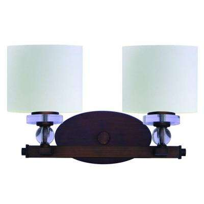 Mitchell Peak 2-Light Oil Rubbed Bronze Bathroom Vanity Light with Dove White Glass Shade