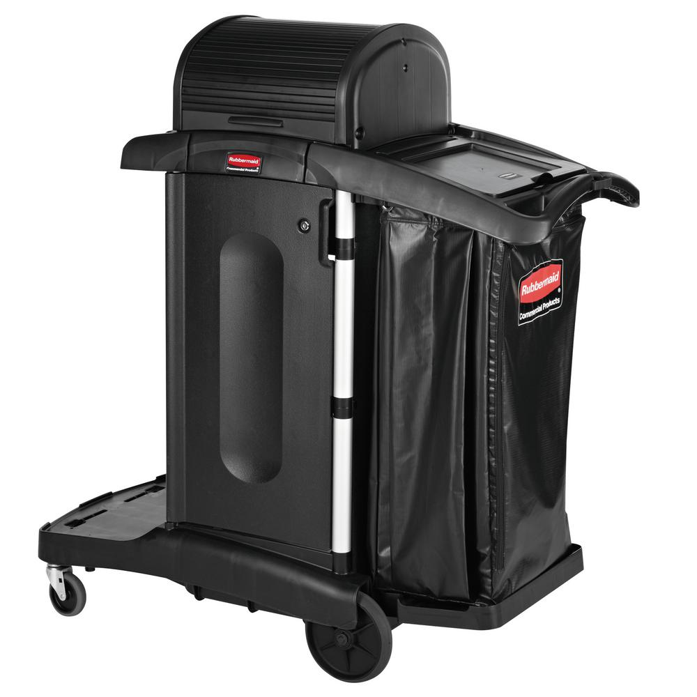 Rubbermaid Commercial Products Executive Series High Security Housekeeping Cart Rcp1861427 The Home Depot