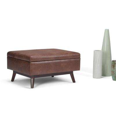 Owen Distressed Saddle Brown Air Leather Storage Ottoman