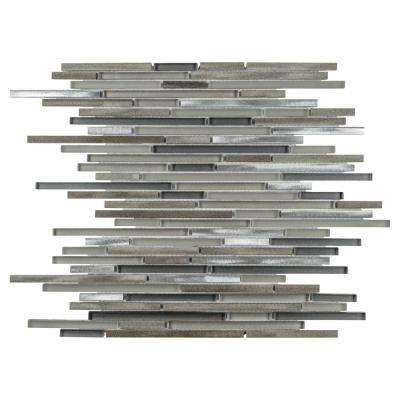 Fusion Mini Linear Aragon 11-3/4 in. x 11-3/4 in. x 6 mm Brushed Aluminum and Glass Mosaic Tile