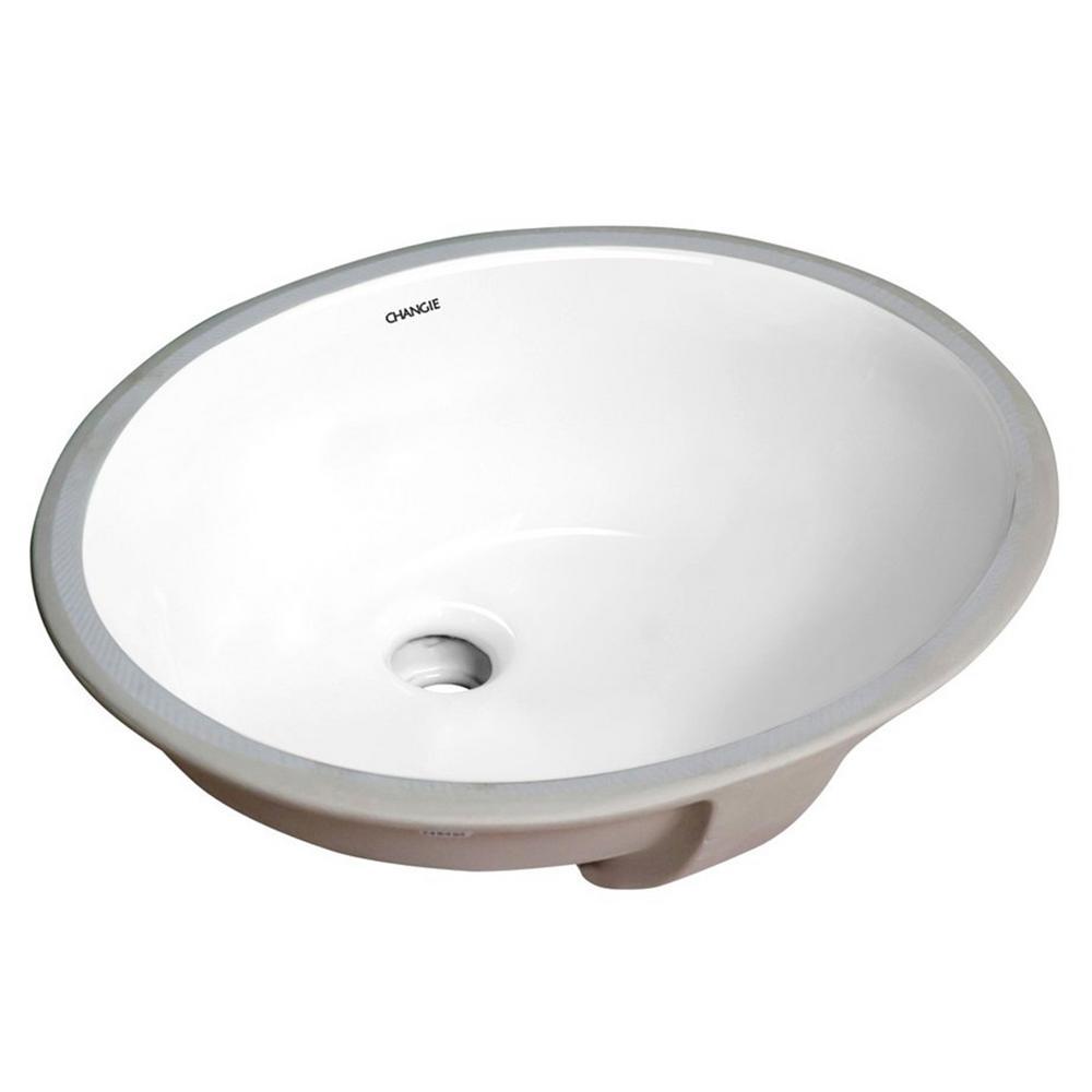 Oval Undercounter Bathroom Ceramic Sink, White, Insize 16 in. x 13 in.