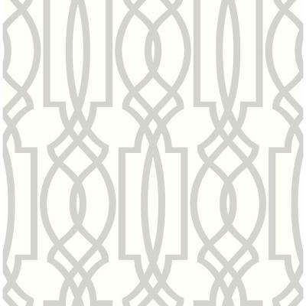 Soft Gray Deco Lattice Peel and Stick Wallpaper