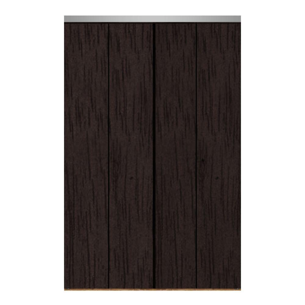 Impact Plus 47 in. x 84 in. Smooth Flush Espresso Solid Core MDF Interior Closet Bi-fold Door with Chrome Trim