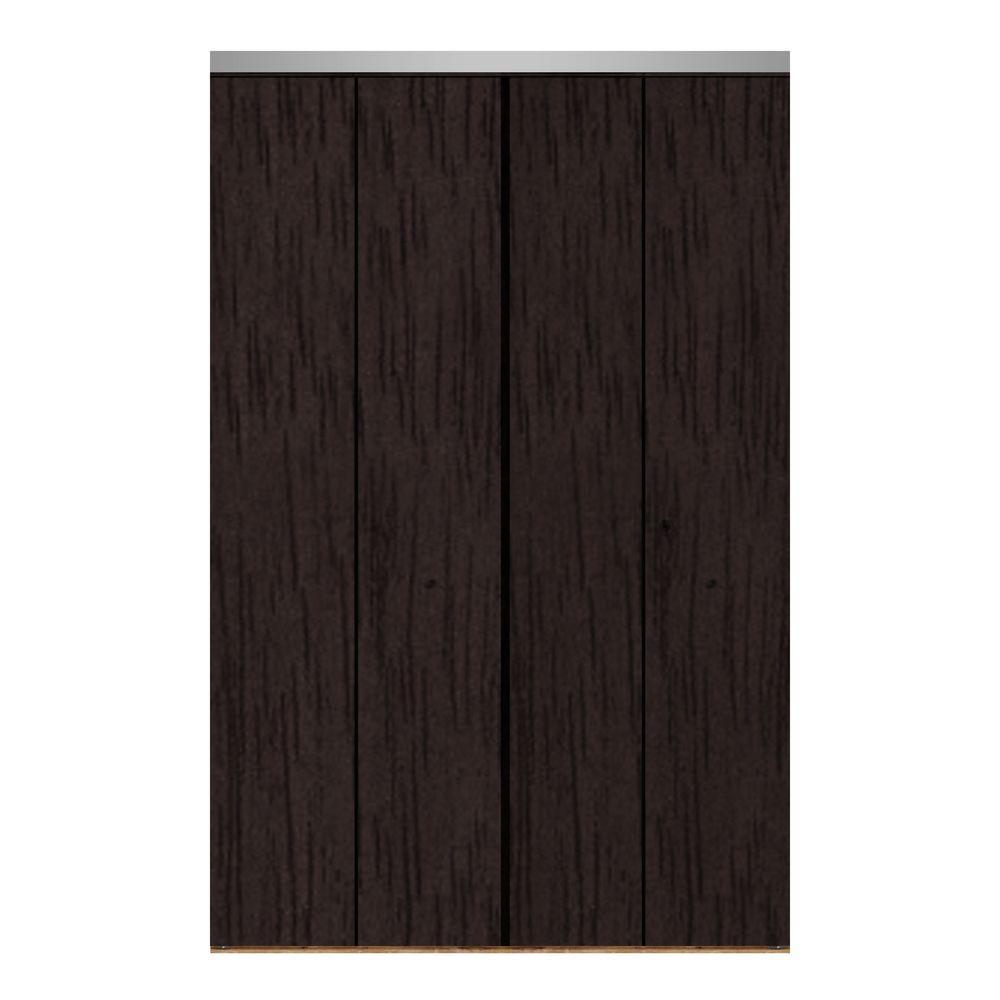 Impact Plus 47 in. x 96 in. Smooth Flush Espresso Solid Core MDF Interior Closet Bi-fold Door with Chrome Trim