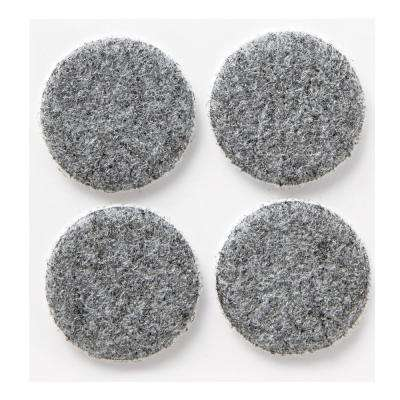 1.5 in. Gray Round Heavy-Duty Surface Protection Felt Floor Pads (4-Pack)