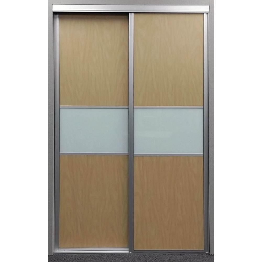 Contractors Wardrobe 72 in. x 81 in. Matrix Maple and White Painted Glass Aluminum Interior Sliding Door