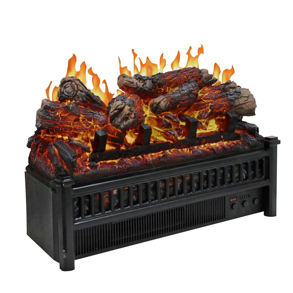 Add both flame effect and heat into your decor using Unbranded Electric Log Set with Heater. CSA certified product for safety.