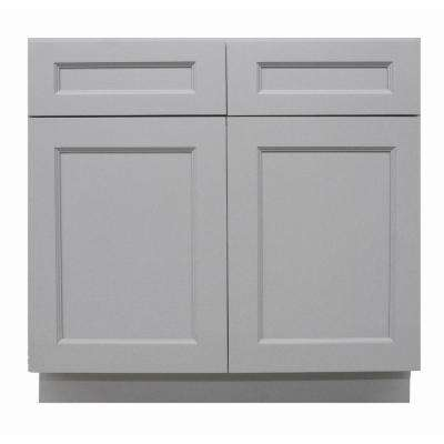 Modern Craftsman Ready to Assemble 33x34.5x24 in. Base Cabinet with 2-Door 2-Drawer in Gray