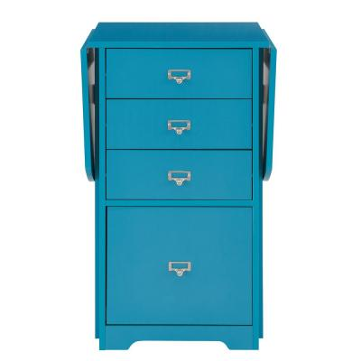 48 in. Turquoise Rectangular 4 -Drawer Writing Desk with File Storage