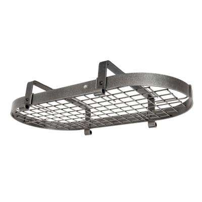 Handcrafted 37 in. Low Ceiling Oval Pot Rack with 18 Hooks Hammered Steel
