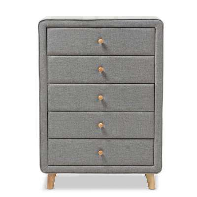 Jonesy Mid-Century 5-Drawer Gray Fabric Upholstered High Chest