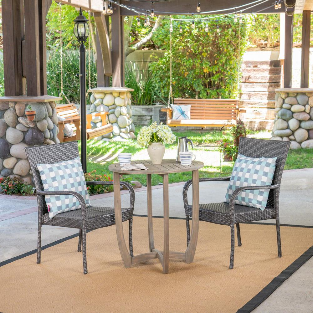 Noble House Camden Gray 3-Piece Wood And Wicker Outdoor