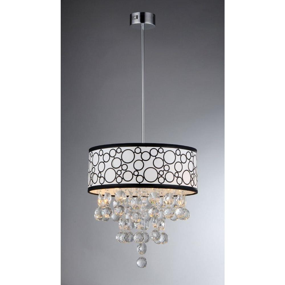 Warehouse Of Tiffany Adelaida 3 Light Chrome Crystal Chandelier With Fabric Shade