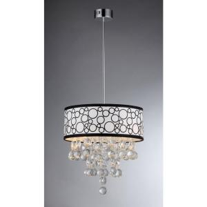 Click here to buy Warehouse of Tiffany Adelaida 3-Light Chrome Crystal Chandelier with Fabric Shade by Warehouse of Tiffany.