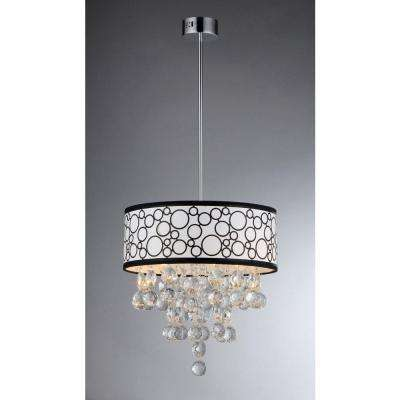 Adelaida 3-Light Chrome Crystal Chandelier with Fabric Shade