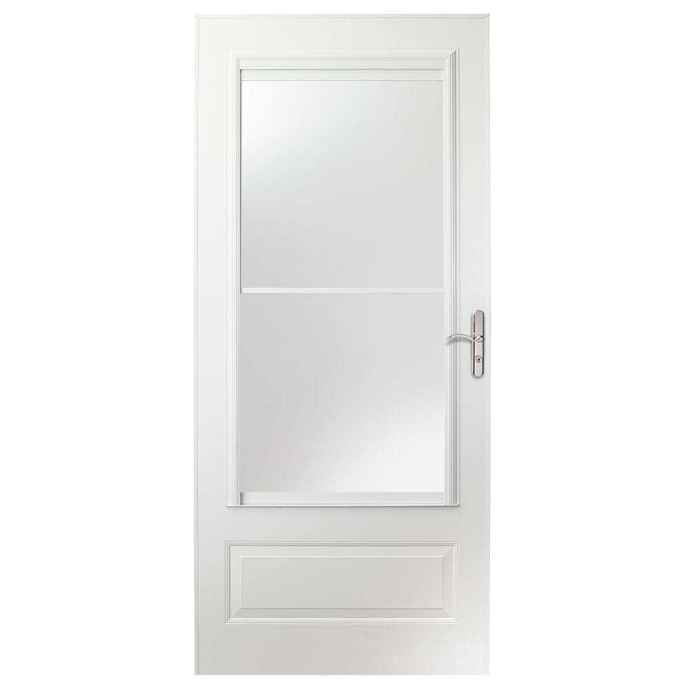 400 Series White Universal Self Storing Aluminum Storm Doors  Exterior The Home Depot