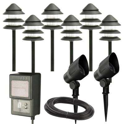 Timer landscape lighting outdoor lighting the home depot low voltage black outdoor halogen landscape path light and flood light kit with transformer aloadofball Image collections