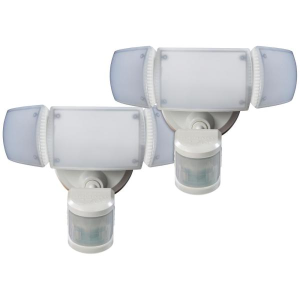 270-Degree White Motion Activated Outdoor Integrated LED 3-Head Flood Light with Adjustable Color Temperature (2-Pack)