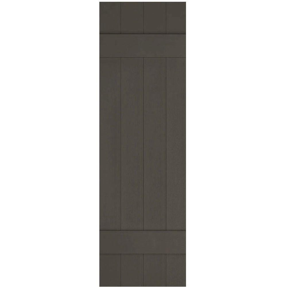 Reviews For Ekena Millwork 14 In X 47 In Lifetime Vinyl Custom Four Board Joined Board And Batten Shutters Pair Musket Brown Lj4c14x04700ms The Home Depot