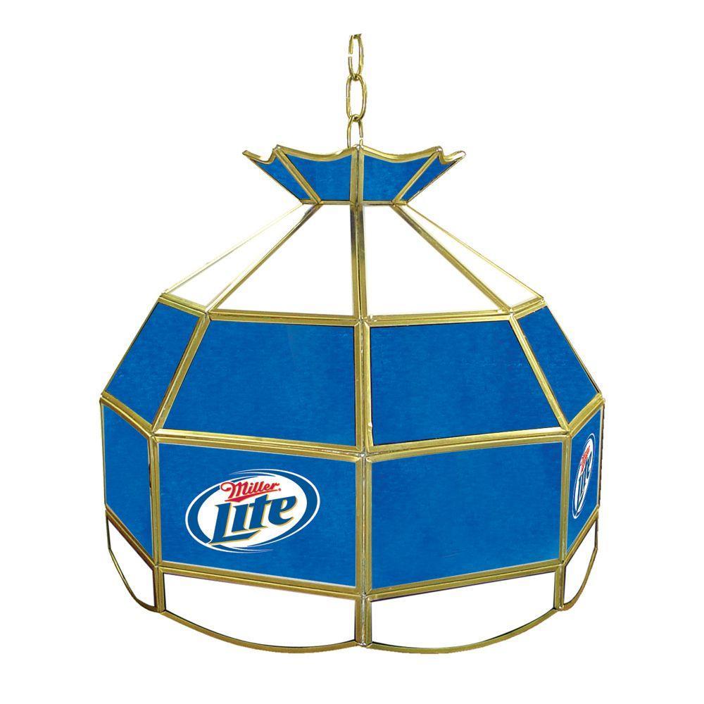 Trademark Global Miller Lite 1-Light Brass Hanging Tiffany Style Billiard Lamp