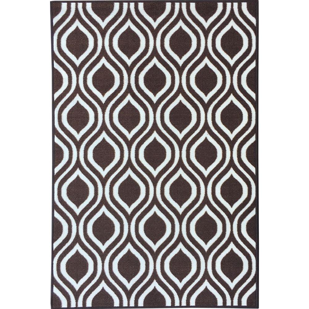 Rose Collection Contemporary Moroccan Trellis Design Brown 3 ft. 3 in.