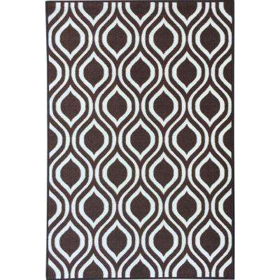 Rose Collection Contemporary Moroccan Trellis Design Brown 3 ft. x 5 ft. Non-Skid Area Rug