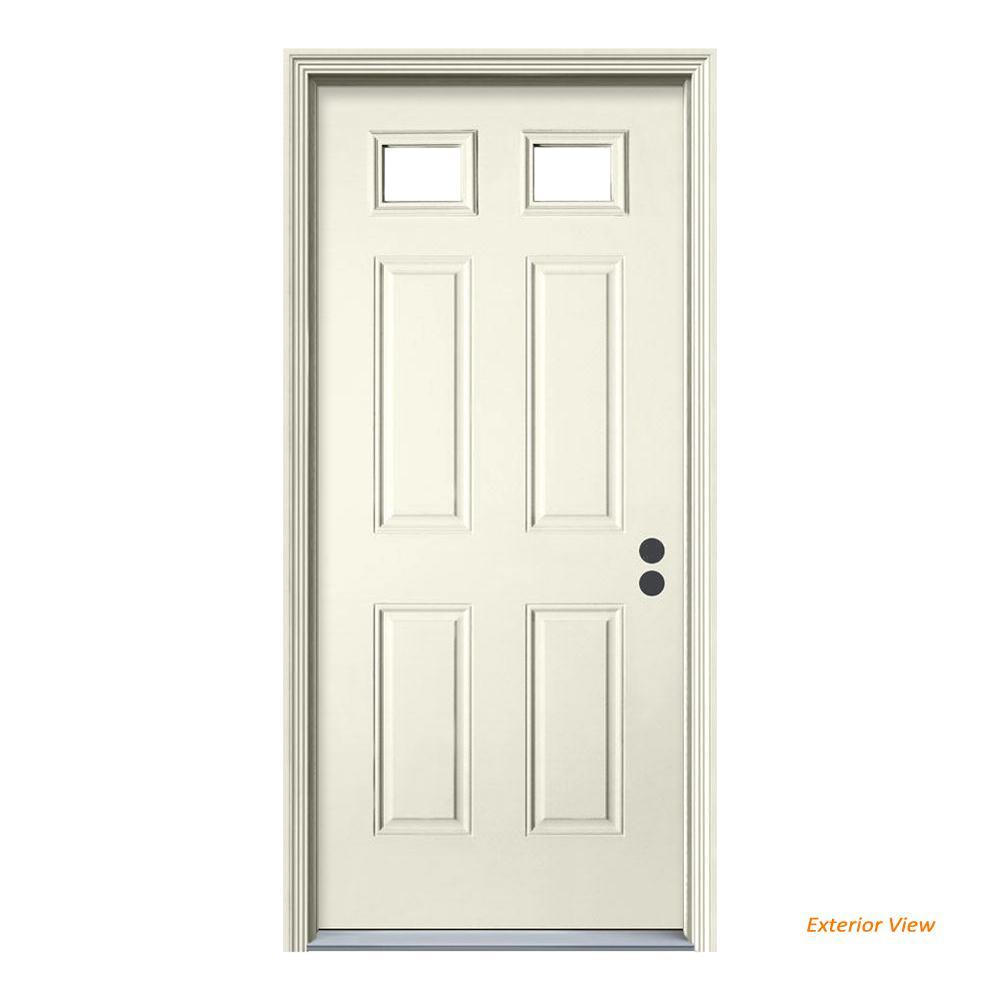 JELD-WEN 36 in. x 80 in. 2 Lite Primed Steel Prehung Left-Hand Inswing Front Door w/Brickmould