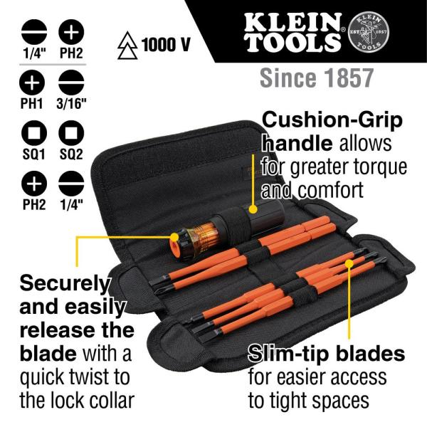 14 Piece 1000 V Insulated Screwdriver Set with Interchangeable Blades Voltage Tester and Storage Pouch