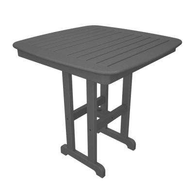 Nautical 37 in. Slate Grey Plastic Outdoor Patio Counter Table