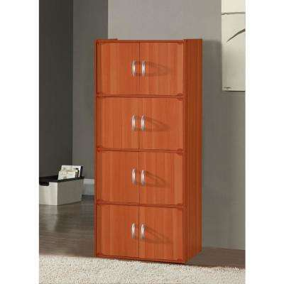 4-Shelf, 54 in. H Cherry Bookcase with Double Doors