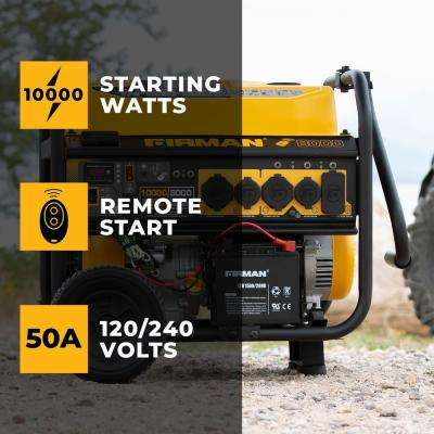 10000/8000-Watt 120/240V 30/50A Remote Start Gas  Portable Generator CARB Certified