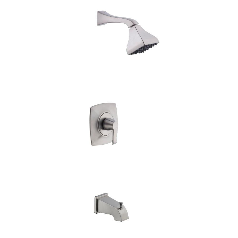Glacier Bay Adelyn Single-Handle 1-Spray Tub and Shower Faucet in Brushed Nickel (Valve Included)