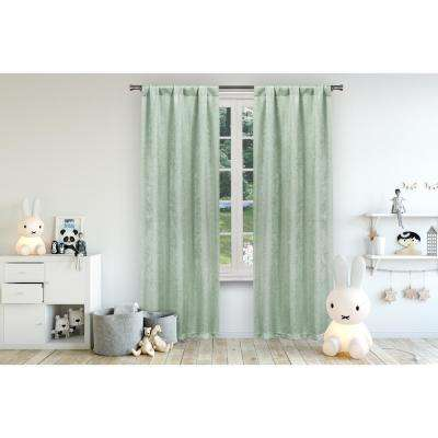 Danielle 38 in. W x 84 in. L Polyester Window Panel in Seafoam