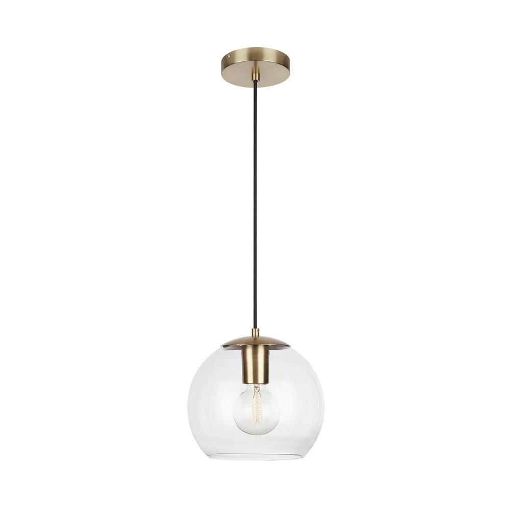Home Decorators Collection 1-Light Antique Brass and Glass Mini-Pendant