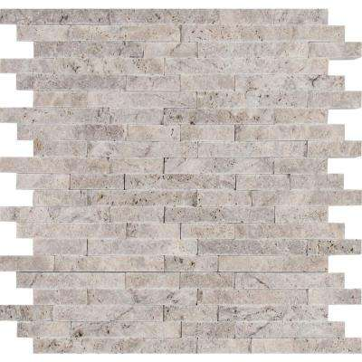Silver Split Face 11.81 in. x 12.4 in. x 10 mm Travertine Mesh-Mounted Mosaic Wall Tile (10.2 sq. ft. / case)