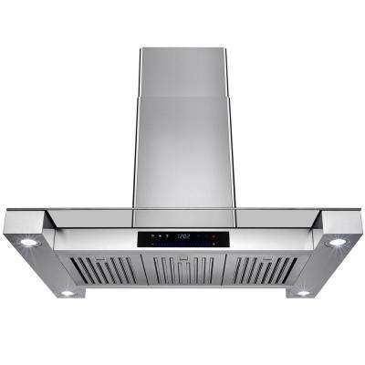 36 in. Convertible Island Mount Range Hood in Stainless Steel with Tempered Glass and Touch Control