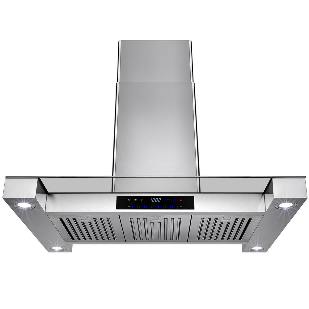 Akdy 36 In Convertible Island Mount Range Hood Stainless Steel With Tempered Gl And Touch Control Rh0240 The Home Depot