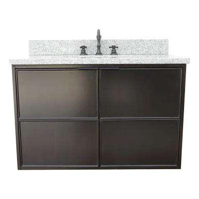 Scandi IV 37 in. W x 22 in. D Wallmount Bath Vanity in Cappuccino with Granite Top in Gray with White Rectangle Basin