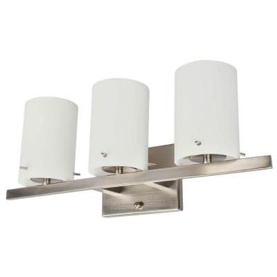 3-Light Brushed Nickel Vanity Lighting with White Frosted Glass LED Integrated