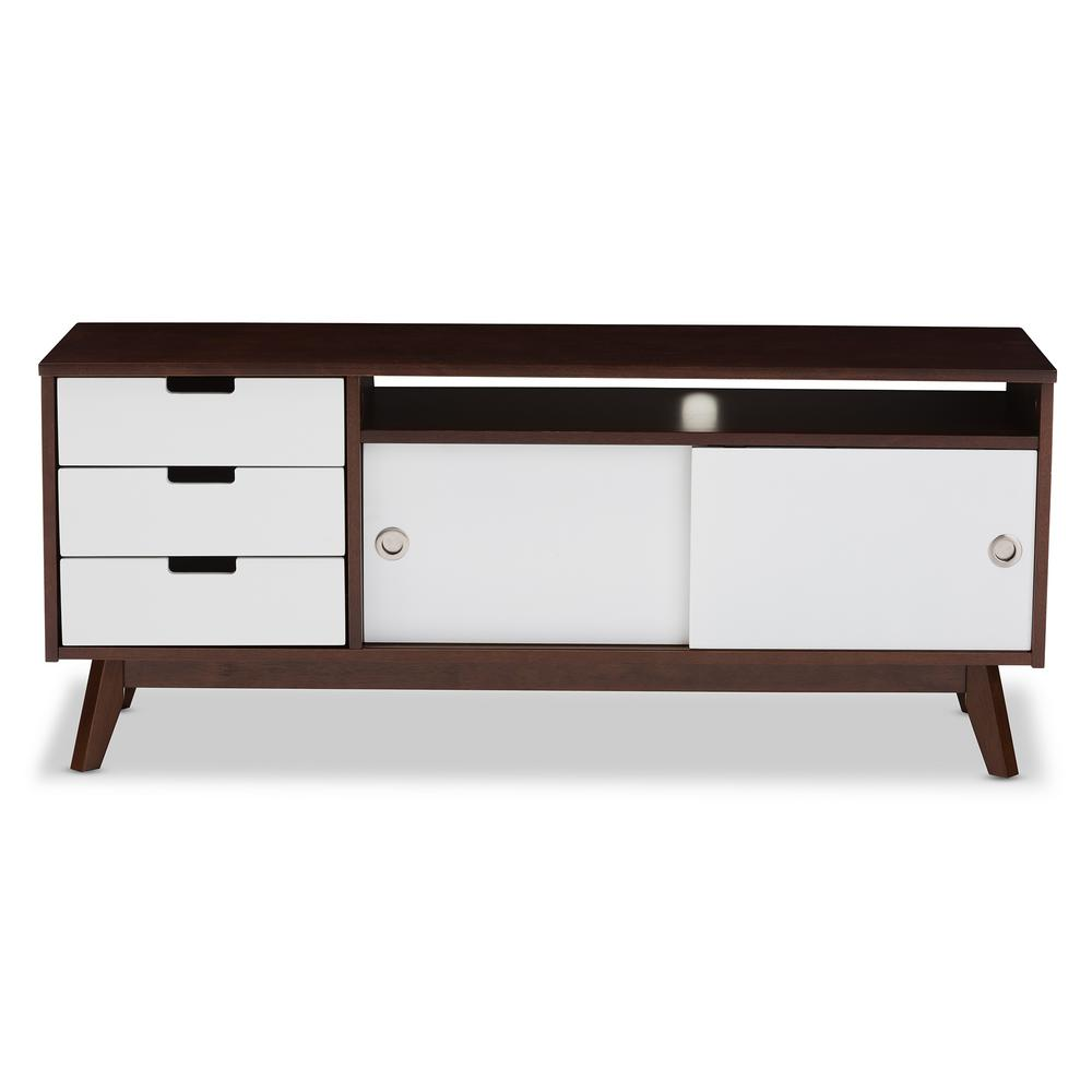 Alphard White and Medium Brown Wood Entertainment Center