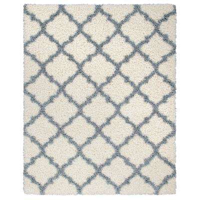 Ultimate Shaggy Contemporary Moroccan Trellis Design Ivory/Gray 5 ft. 3 in. x 7 ft. Area Rug