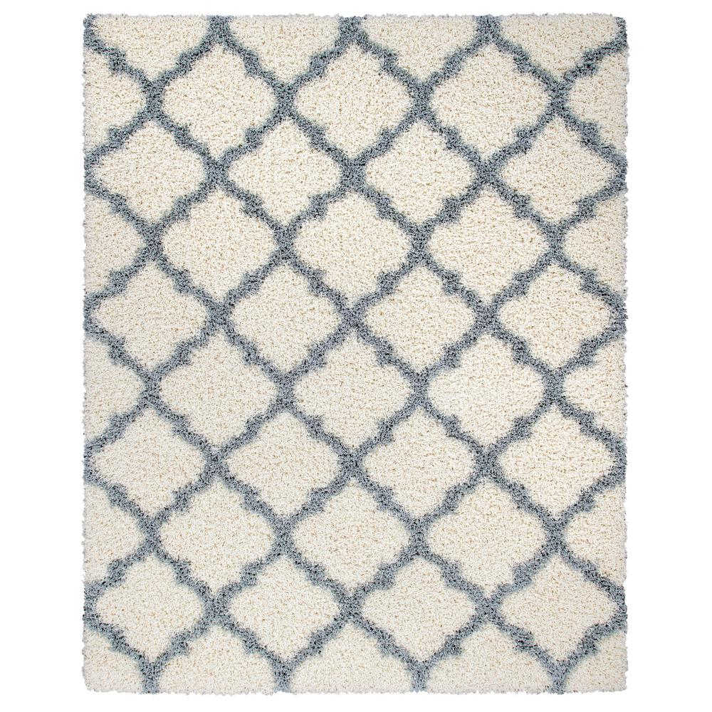 Ottomanson Ultimate Shag Contemporary Moroccan Trellis Design Ivory/Gray 7 ft. 10 in. x 9 ft. 10 in. Area Rug was $179.99 now $134.99 (25.0% off)