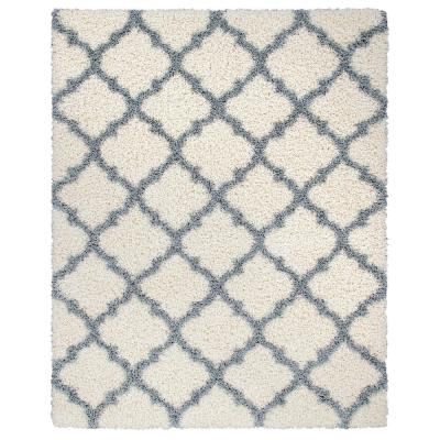 Ultimate Shag Contemporary Moroccan Trellis Design Ivory/Gray 7 ft. 10 in. x 9 ft. 10 in. Area Rug