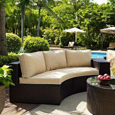 Catalina Wicker Outdoor Sofa with Sand Cushions